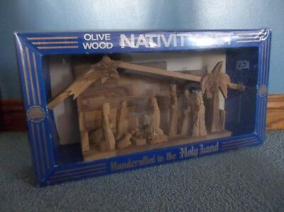 Nativity Scene Set Handcrafted Olive Wood From The Holy Land New