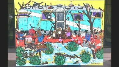 """Canvas Painting By World Renowned Folk Artist Hambone. Title Is """"bayou Livin"""