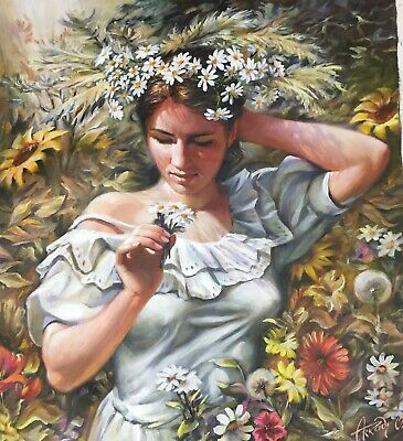 """Arkady Ostritsky """"scent Of Spring"""" Hand Signed Oil On Canvas Art Russian Israeli"""