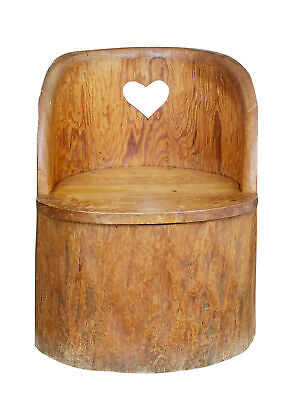 19th Century Large Dugout Rustic Pine Chair