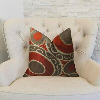 "Plutus Brands Plutus Pomegranate Handmade Throw Pillow 24"" X 24"" Red/brown"
