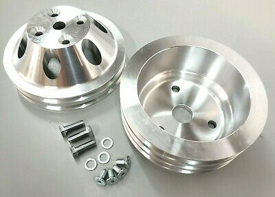 Sbc Small Block Chevy 2 / 3 Groove Aluminum Long Water Pump Pulley Kit 327 350