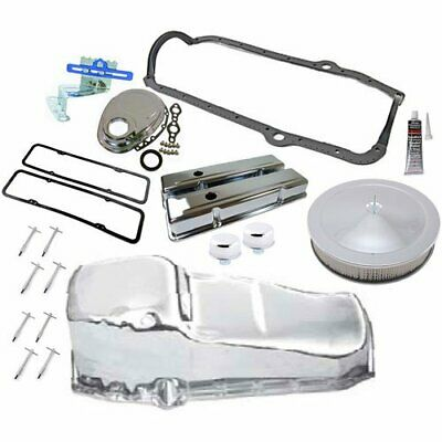 Rpc R9216k Small Block Chevy Chrome Dress-up Kit Includes: Steel Valve Covers Ti