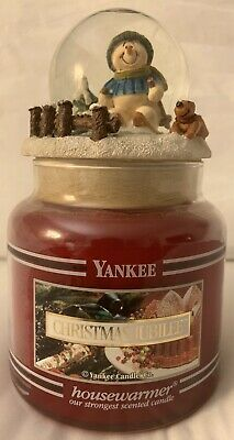 Rare Yankee Candle  Christmas Jubilee 14.5oz Black Band Candle W/ Snow Globe Top