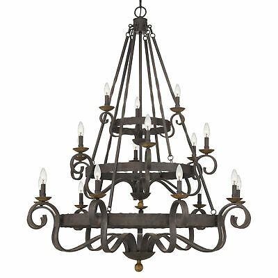 "Quoizel Nbe5018 Noble 18 Light 48""w Taper Candle Chandelier - Black"