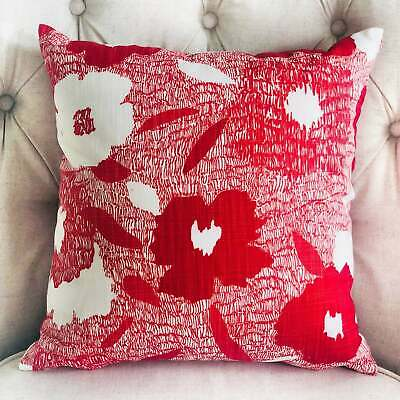 Plutus Hibiscus Red And Beige Luxury Decorative Throw Pillow