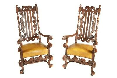 A Large Pair Of Charles Ii Style Oak Armchairs
