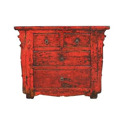 Chinese Distressed Rustic Red Foyer Console Table Cabinet Cs5331