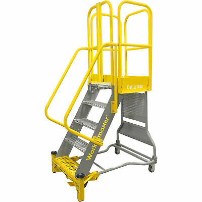 Cotterman Workmaster Super-duty Rolling Ladder W/handrails 1000lb Cap 7 Steps
