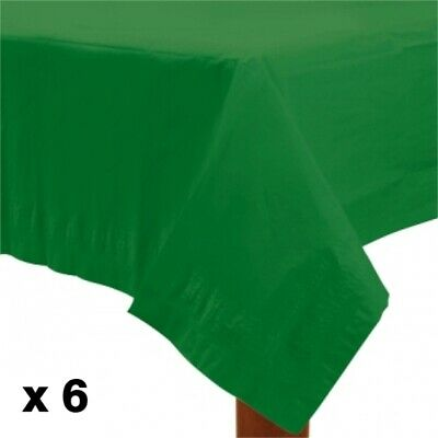 Amscan Lined Plastic Tablecover - Festive Green 6 Pack