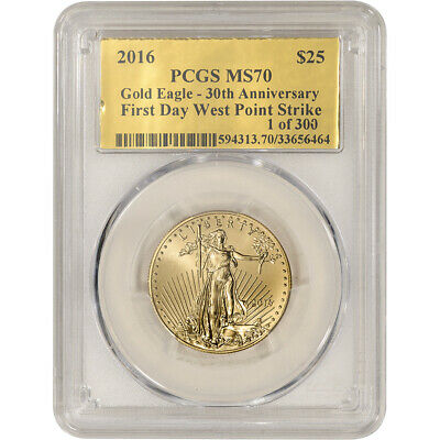 2016 American Gold Eagle 1/2 Oz $25 - Pcgs Ms70 First Day West Point Strike Gold