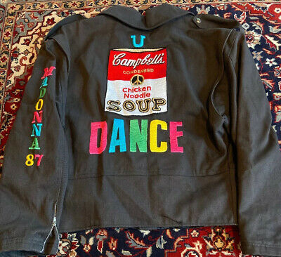 1987 Madonna Who's That Girl World Promo Crew Jacket Andy Warhol Campbells Soup