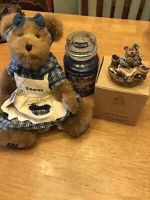 Muffin B.bluebeary Boyds Bear, Blueberry Muffin Yankee Candle, And Candle Topper