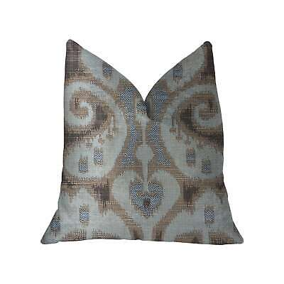 Plutus Paragon Brown, Blue And Beige Luxury Throw Pillow