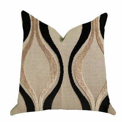 Plutus Misty Belvedere Luxury Decorative Throw Pillow In Black, Brown Double Sid