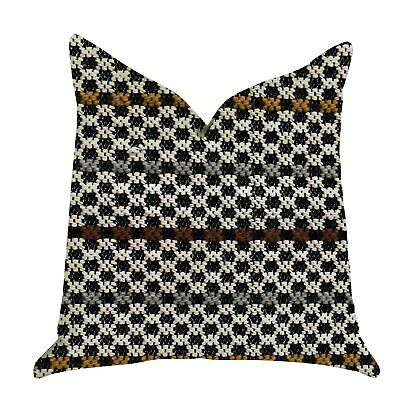 Plutus Poppy Chic Woven Luxury Decorative Throw Pillow In Black, Red, Green Doub