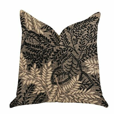 Plutus Bonzai Ebony Floral Decorative Throw Pillow In Black Black, Brown Double