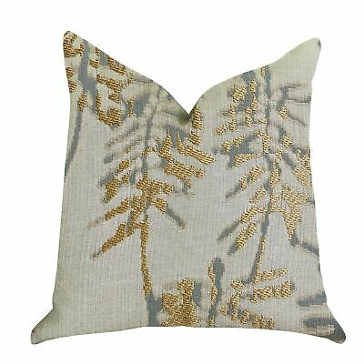 Plutus Creekside Beauty Luxury Decorative Throw Pillow In Green, Gold Double Sid