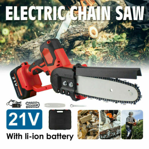 10'' Mini Electric Cordless Chainsaw Battery Powered Chain Saw Pruning Shears