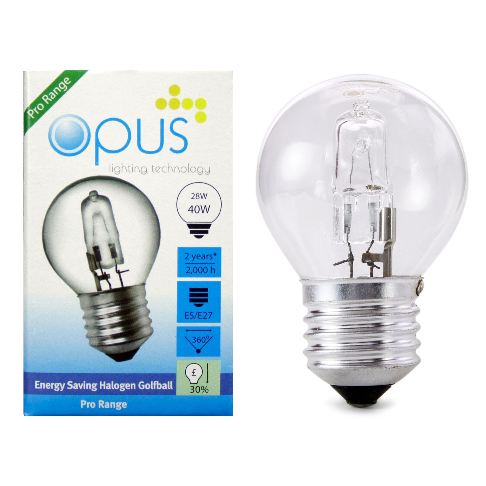 10 x Opus 33w= 40w Candle SES E14 Small Screw Long Life Clear Halogen Light Bulb