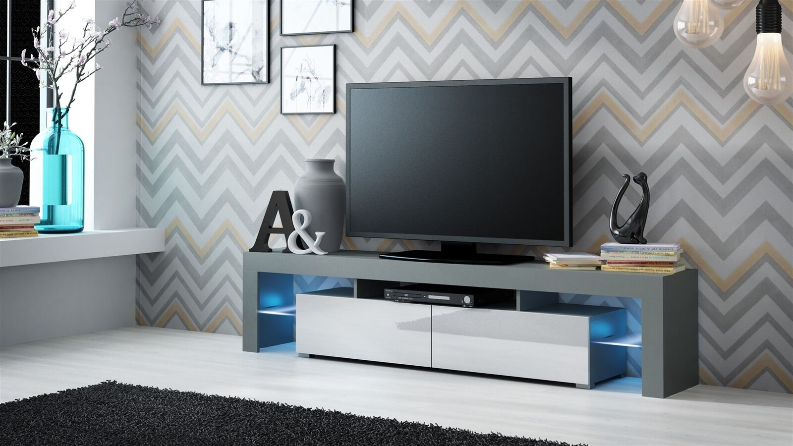 tv board beton lowboard tv merina stand in matt white and oak with drawers score low board. Black Bedroom Furniture Sets. Home Design Ideas