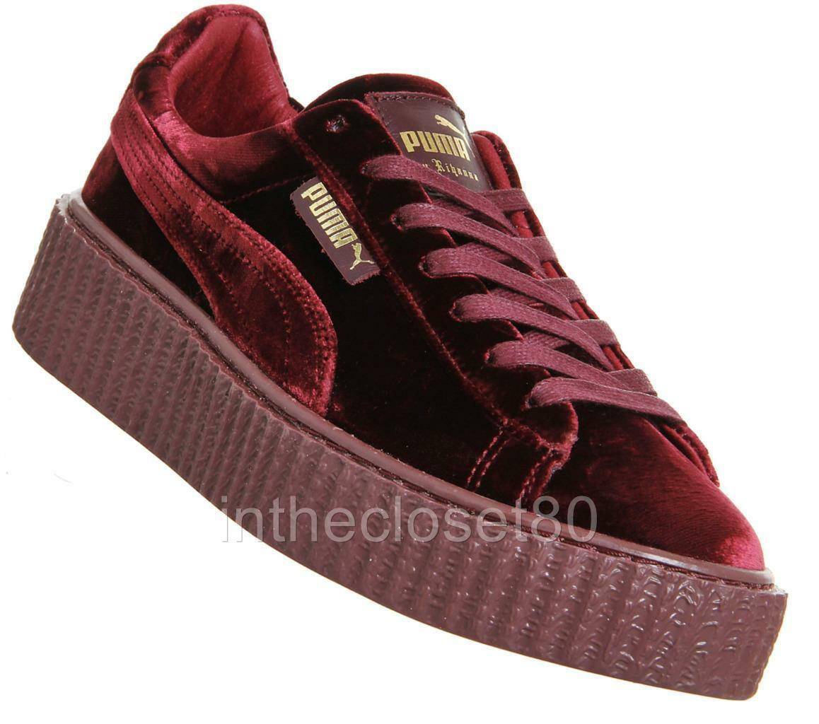 more photos 8f0cb f4c05 Puma Rihanna Fenty Creepers Velvet Burgundy Maroon Red Womens Trainers  364466 02