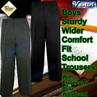 Boys Sturdy Stocky Wide Fit Elasticated School Trousers