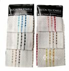 9 x Hilton 100% Cotton Check Kitchen Tea Towels