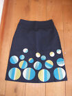 BODEN FUN SKIRT NAVY BLUE APPLIQUE SPOTS BUBBLES 8 L