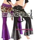 BELLY DANCE COSTUME SHIMMER FISHTAIL FLARE PANTS 7 CLR