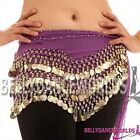 BELLY DANCE COSTUME HIP SCARF WRAP SKIRT GOLD COIN 6CLR