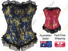 New Corset Top Brocade Black Lace Trim Gold Floral Embroidery Vintage Inspired