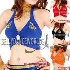 BELLY DANCE COSTUME TOP HALTER NECK WITH FAUX GEMSTONE