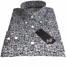 Paisley Vintage Fit Shirt by Relco - 60s Button Collar - Black - Mod/Skin - NEW