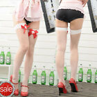 New Top Sexy White Fishnet Thigh High Stockings With Red Nurse Ribbon Bow s038