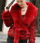 100% Real Genuine Rabbit Fur Huge Fox Collar Coat Outwear Jacket  Garment Ladies