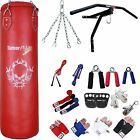 Heavy Punch Bag Set Boxing Gear Kit Kickboxing bag Gloves Wall Bracket Rope Red