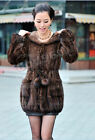 100% Real Genuine Knit Mink Fur with Hood Long Coat Outwear Jacket Winter Ladies