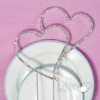 Silver Rhinestone Diamante Double Heart Monogram Wedding Cake Topper Decorations