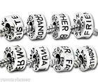 Family Charm Bead Choose Wording, Mother Father Sister Brother Friend Aunt