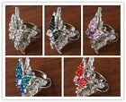 Crystal Rhinestone Butterfly Adjustable Cocktail Ring (5 color) Size UK Q / US8