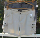 BUFFALO BEIGE CEMENT - GRAY COTTON CARGO POCKETS FLAT FRONT SHORTS 32 33 NEW