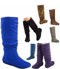Women's Casual Comfort Mid Calf Knee High Round Toe Slouch Flat Heel Boot Shoes