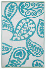 Paisley Blue & White Outdoor & Indoor Rugs Placemats - Many Sizes, Recycle Green