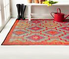 Lhasa Orange & Violet Color Outdoor & Indoor Rugs - Many Sizes, Recycle Green