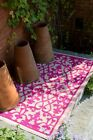 Venice Cream & Pink Outdoor & Indoor Rugs Mats - Many Sizes, Recycle Green