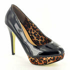 NEW WOMENS BLACK HIGH HEEL COURT SHOES WITH LEOPARD PRINT PLATFORM IN SIZES 3-8