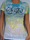 Sinful by Affliction Woman's POTENTIA Burnout T-Shirt - S2198 - White