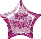 Pink Glitz  Foil Balloon Happy Birthday Ages 18 - 60 Birthday Party