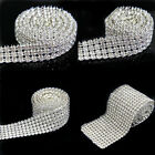 6,12, 24 Rows Silver Clear Crystal Rhinestone Mesh Wedding Tier Trim Cake Decor